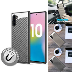Magnetic Backplate Carbon Fiber Protective Case Cover For Samsung Galaxy Note 10