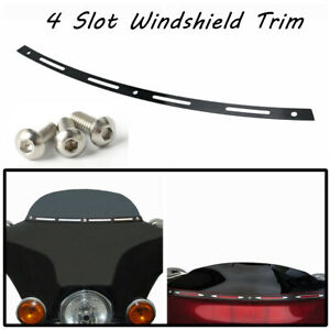 Slotted Batwing Fairing Windshield Trim  For Harley Touring Electra Glide Black