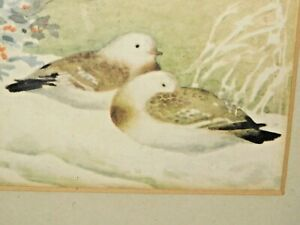 VINTAGE CHINESE FRAMED SNOW DOVE PRINT WITH SEAL MARKS