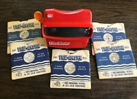 VINTAGE VIEWMASTER 3D VIEWER TYCO TOYS ORANGE HANDLE WITH 5 STORY REELS