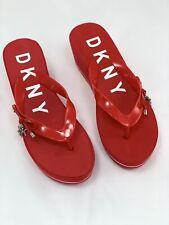 Womens DKNY Red Flip Flops Platform Sandals UK 5.5/EU 38.5