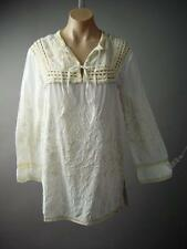 Tie Neck Crochet Yoke Embroidery India Kurti Cotton Peasant Top 127 ac Blouse XL