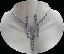 Vintage Style Necklace & Earrings Sapphire Crystal Perfect Gift N692