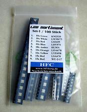 SMD LED-Sortiment (100 Stück) Farben: blau, rot, grün, weiß. orange, amber, gelb