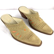 Beige Suede Western Style Mules Butterfly Cutout Studded Festival Booties Size 8