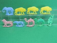 Lot 9 Figurine animaux sauvage 1/2 ronde bosse plastique type Prime publicitaire