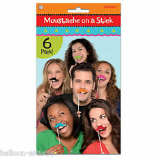 6 Wild West Fiesta Party MOUSTACHE On A Stick Hand Held Photo Booth Props