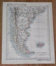 1907 ORIGINAL ANTIQUE MAP ARGENTINA CHILE FALKLANDS BUENOS AIRES RIO DE JANEIRO