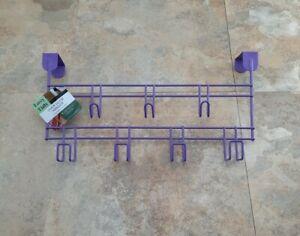 Purple Over The Door Hook Organizer Rack 7-Prong Hanging Coats Hats Towels
