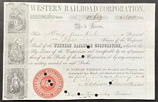 WESTERN RAILROAD CORP. Stock 1850 Boston-Worcester-Pittsfield, MA. Inc. 1833 VF+