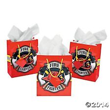 Medium Firehouse Hero Gift Bags W/TAGS (lot of 12) FIREFIGHTER PARTY Gift Bags