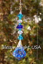 1 of Blue Crystal Beaded Diamond Ceiling Lighting Fan Pull Chain