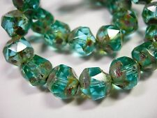 15 8mm Turquoise Picasso Firepolished Thru Cuts Czech Glass Beads