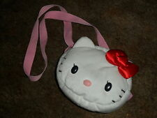 Sanrio Hello Kitty bow diecut plush purse bag adjustrable shouder strap  zip top