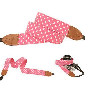 Pink heart print Fashion Camera Neck Shoulder Strap for Film SLR DSLR RF Cute