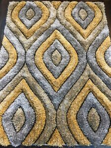 NEW QUALITY LUXURY WOVEN MODERN  SOFT 3D RUGS LARGE 160CMX210CM GREY/YELLOW