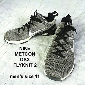 Nike Metcon DSX Flyknit 2 Training Shoes Black Silver 924423 001 ~ Mens Size 11