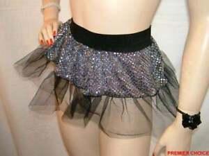 11/8 NEW BLACK SILVER NET TUTU FANCY DRESS HEN PARTY SKIRT 6