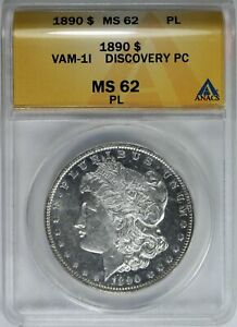 1890 P MORGAN  DOLLAR ANACS MS-62 PL VAM 1i DENTICLE CLASHED DISCOVERY COIN