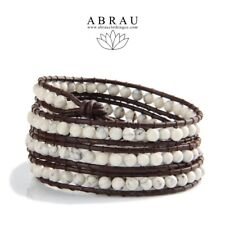 White Howlite Boho Style Gemstone Beaded 3 Wrap Genuine Leather Bracelet USA