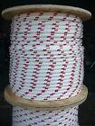 "NovaTech XLE Halyard Sheet Line, Dacron Sailboat Rope 1/2"" x 250' White/Red"