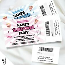 PERSONALISED SLEEPOVER SLUMBER PARTY TICKET STYLE INVITATIONS | PERFORATED STUBS