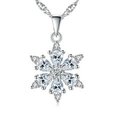 925 Sterling Silver Crystal Pendant Necklace Snowflake Style For Women Jewelry