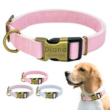 Personalized Nylon Dog Collars Brass ID Name Tag Engraved Free Small Large Dogs