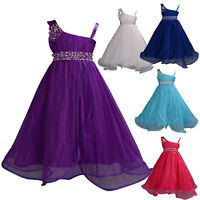 Flower Girl Party Bridesmaid Pageant Dress Purple HotPink Ivory Blue 12M-11Years