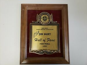 Jim Burt Autographed 1997 NJ Sports Writers Association Hall of Fame Plaque