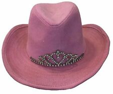Cowgirl Fedora Bucket Western Shapable Pink YOUTH Hat with Crown Metal Emblem
