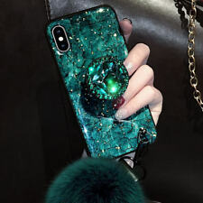 For iPhone 6 7 8 Plus X XR XS MAX Bling Diamond Marble Case with Pop Up Holder