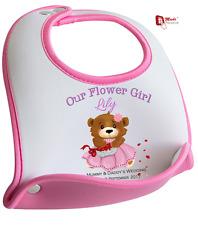PERSONALISED FLOWER GIRL BIB- Cute Bear Design - Any Name & Date & Couples Names