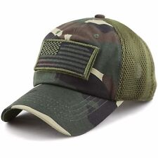 Low Profile Tactical Operator with USA Flag Patch Buckle Cotton Mesh Cap