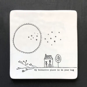 East of India Square Porcelain Twig Coaster  'My favourite place is in your hug'