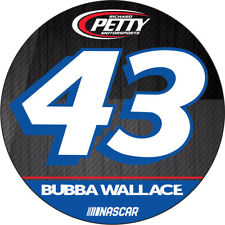 "Darrell Bubba Wallace #43 DECAL RR 4"" Round Vinyl Auto Home Glass Nascar Racing"