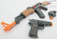 3x Toy Guns Friction AK-47 Toy Rifle Black 9MM Pistol & Revolver Cap Gun Set