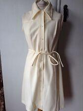 Vintage 60's  Crimplene Mini Mod Dress Cream Large