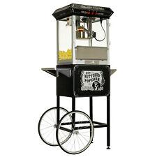 FunTime 8oz Premium Black Popcorn Popper Machine Maker Cart Vintage - FT860CB