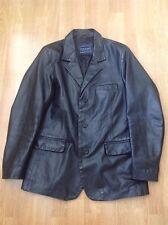 """Great River Island Para Hombre Cuero Negro chaqueta tamaño de Reino Unido s (42 """") usado signos de desgaste"""