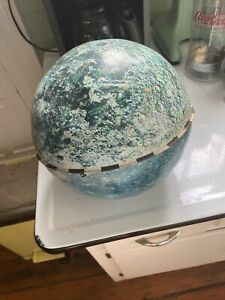 Rare Vintage 1960's J. Chein Metal Lunar Moon Tin Globe Craters