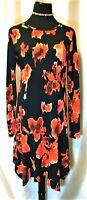 EUC Michael Kors M Black Red Ink Blot Watercolor Flirty Hem Zip Knit Dress