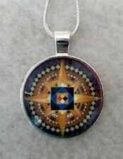 """AZTEC STAR 1""""glass pendant necklace handmade silverplated 20""""chain"""