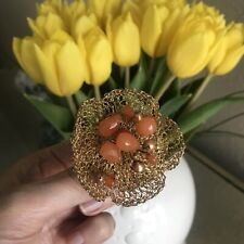 Vintage Gold Tone Mesh Flower With Orange Glass Beads Pin Brooch