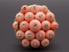 18kt Yellow Gold Round Coral Diamond Cluster Bead Band Ring Size 6.25