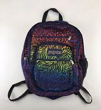 Jansport Backpack Rainbow Leopard Animal Print Book Bag Lisa Frank Style