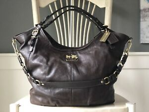 COACH Madison XL Walnut Brown Leather Hobo Shoulder Handbag Satchel Purse 15958