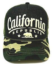 CALIFORNIA REPUBLIC Snapback Cap CALI Bear Mesh Trucker Denim Camo Hat OSFM NWT