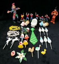 Vintage Mixed Lot of 32 Cupcake Picks /Cake Toppers clown baby baseball props
