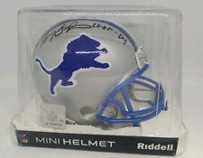 2017 Riddell Barry Sanders HOF '04 Autographed Throwback Mini Helmet Lions